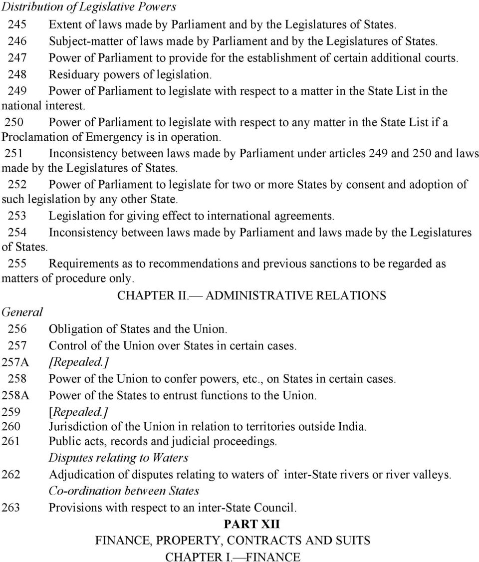 249 Power of Parliament to legislate with respect to a matter in the State List in the national interest.