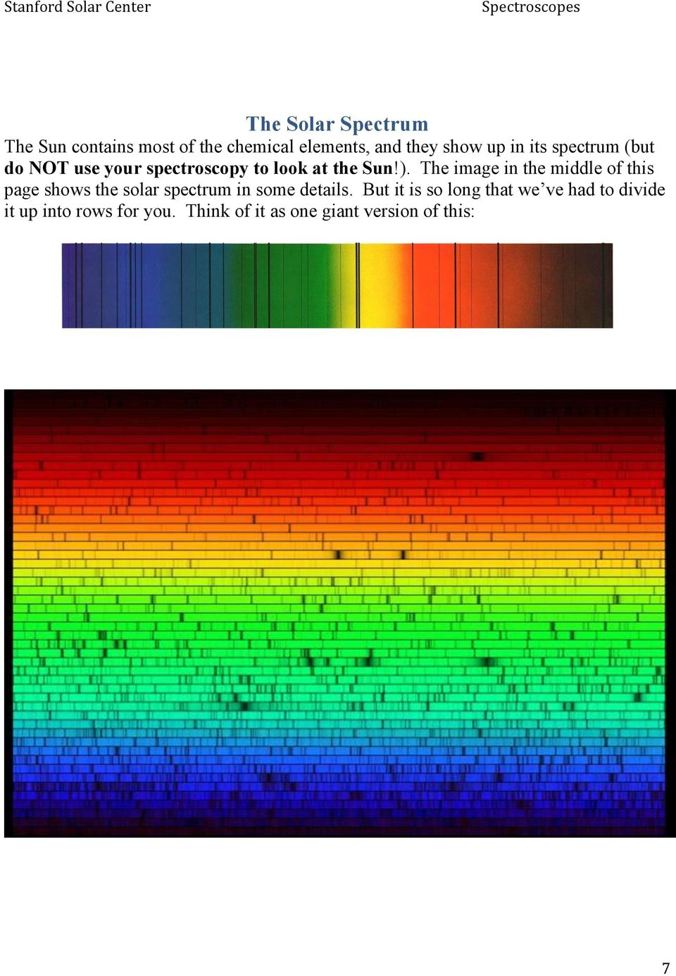 The image in the middle of this page shows the solar spectrum in some details.