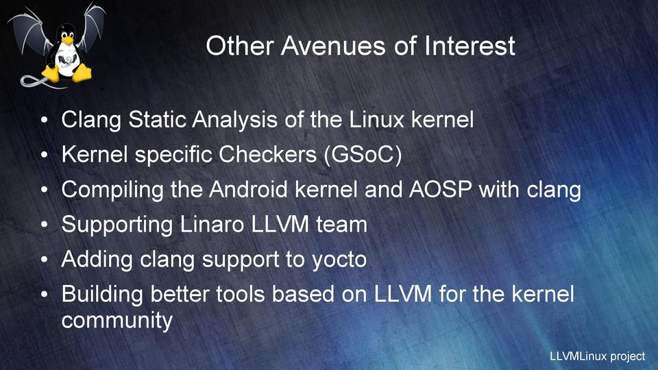 kernel and AOSP with clang Supporting Linaro LLVM team Adding
