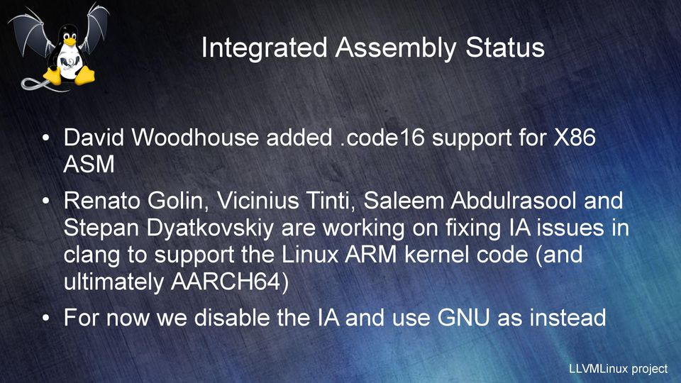 Abdulrasool and Stepan Dyatkovskiy are working on fixing IA issues in