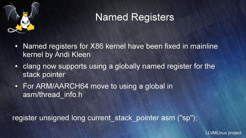 register for the stack pointer For ARM/AARCH64 move to using a global
