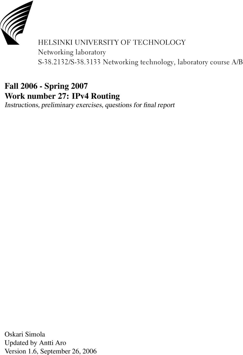 Work number 27: IPv4 Routing Instructions, preliminary exercises, questions