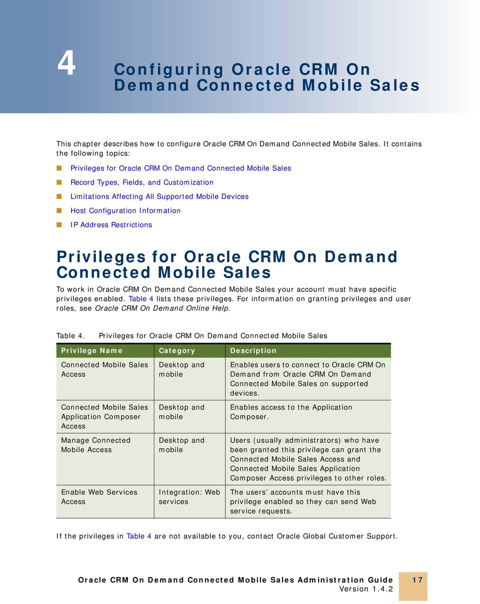 Configuration Information IP Address Restrictions Privileges for Oracle CRM On Demand Connected Mobile Sales To work in Oracle CRM On Demand Connected Mobile Sales your account must have specific