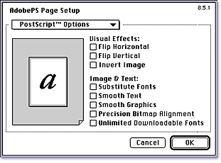 10 Turning off extra PostScript Options Before you start: Before creating a PostScript file, you ll want to turn off extra PostScript options in the Page Setup menu.