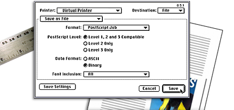 11 Creating a PostScript File: You are now ready to create a PostScript File. 1) Select your Virtual Printer from the pop-up menu.