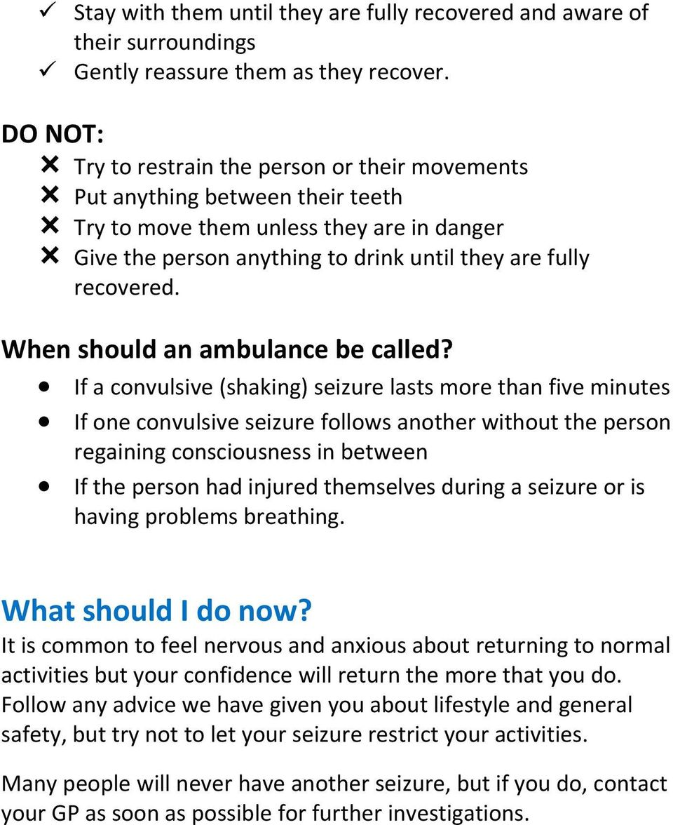 When should an ambulance be called?