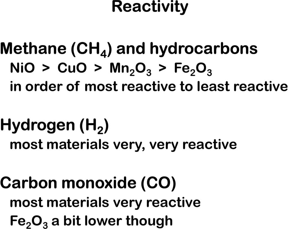 Hydrogen (H 2 ) most materials very, very reactive Carbon