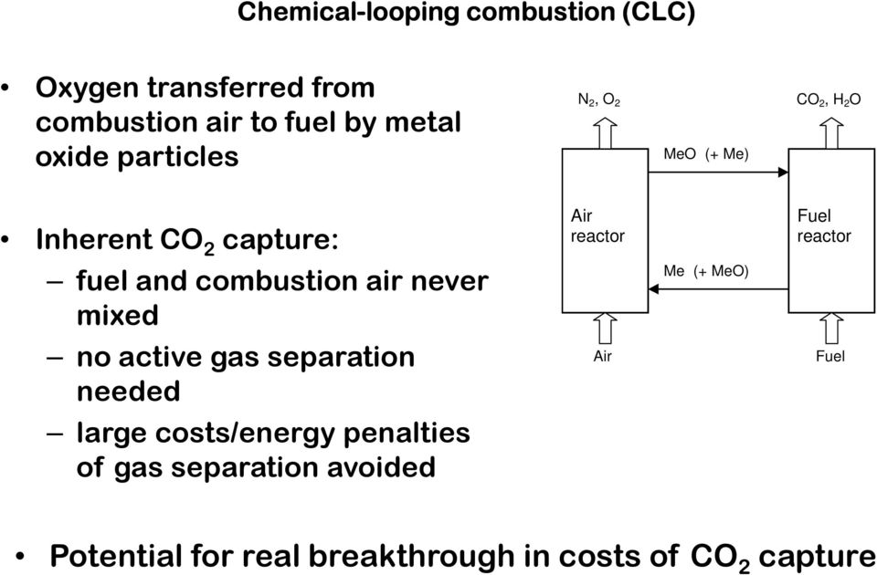 never mixed no active gas separation needed large costs/energy penalties of gas separation avoided