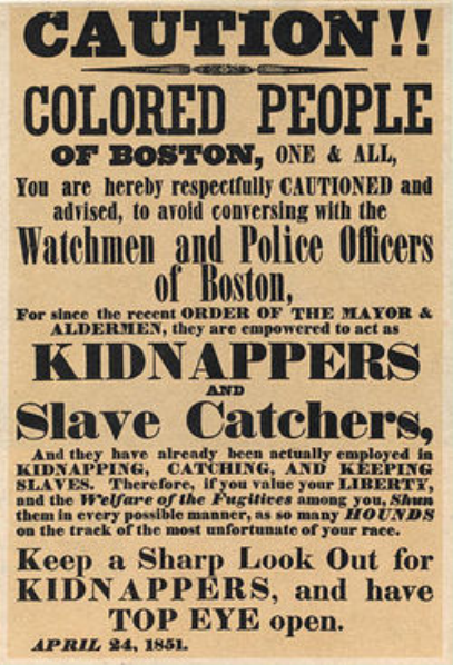 Fugitive Slave Act of 1850 required all citizens to help catch runaway slaves. folks who let fugitives escape could be fined $1000 and jailed. this act enraged antislavery northerners.