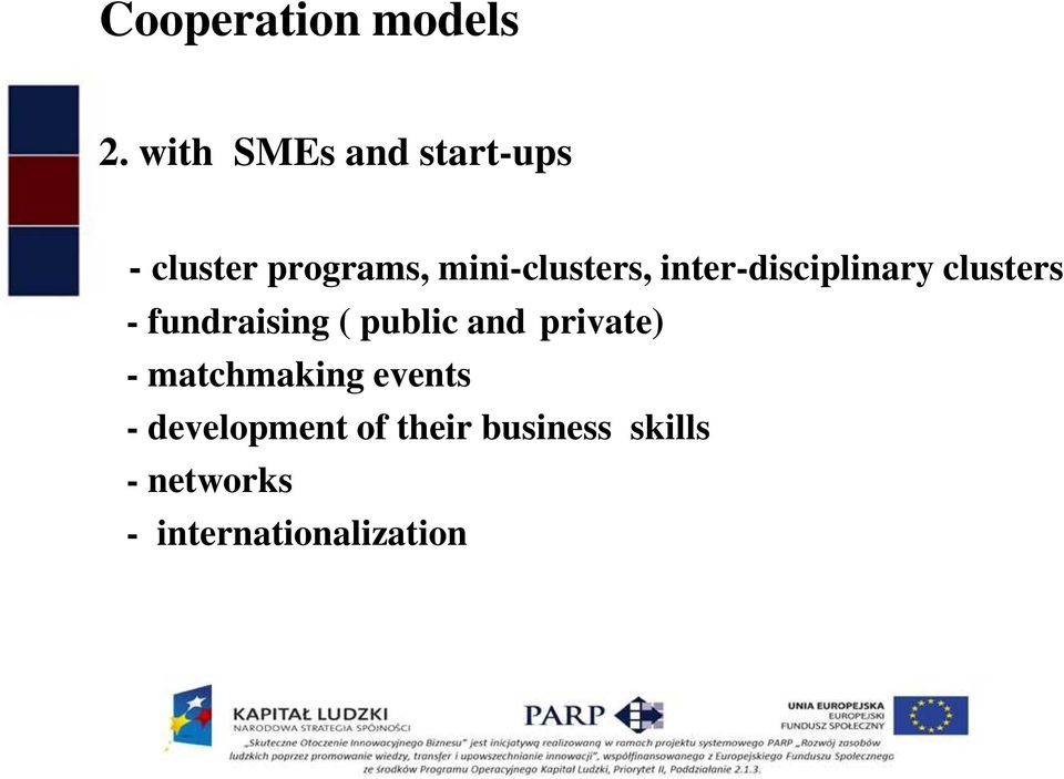 inter-disciplinary clusters - fundraising ( public and