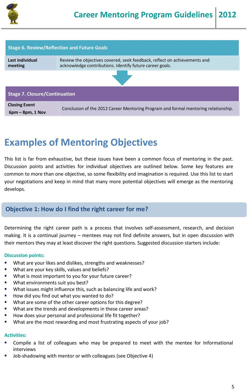 Examples of Mentoring Objectives This list is far from exhaustive, but these issues have been a common focus of mentoring in the past.