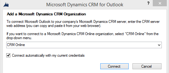 3. Once you have chosen CRM online or input your URL, select Connect If