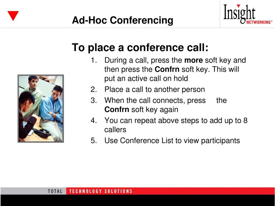 This will put an active call on hold 2. Place a call to another person 3.
