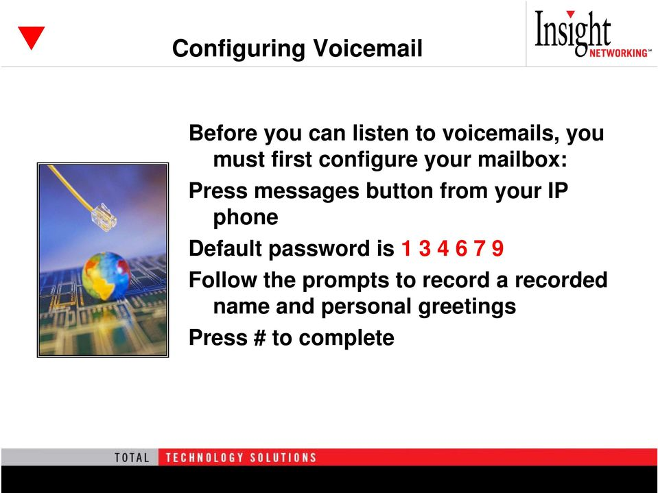 your IP phone Default password is 1 3 4 6 7 9 Follow the prompts