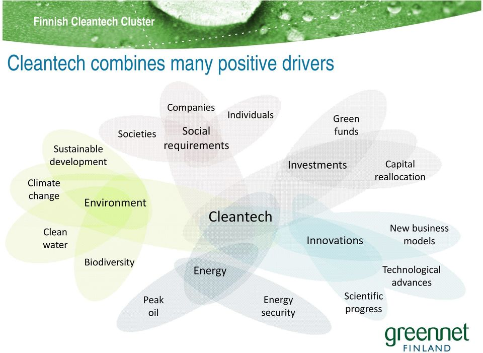 Companies Individuals Social requirements Cleantech Energy Energy security Green funds