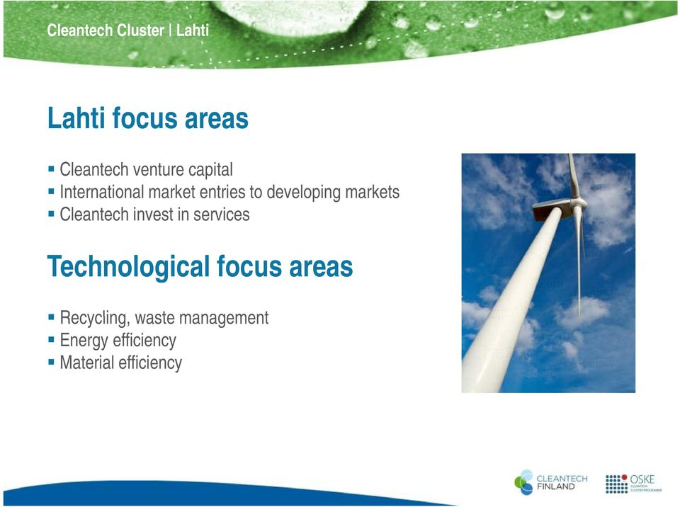 Cleantech invest in services Technological focus areas Recycling