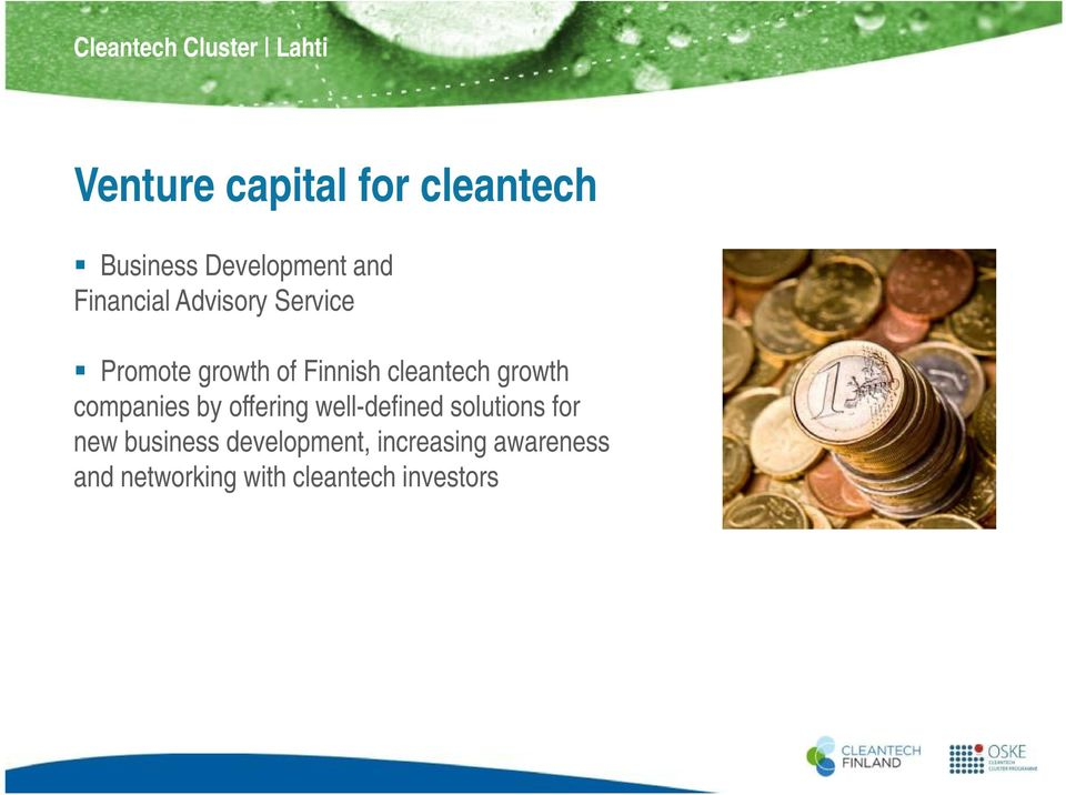 cleantech growth companies by offering well-defined d solutions for new