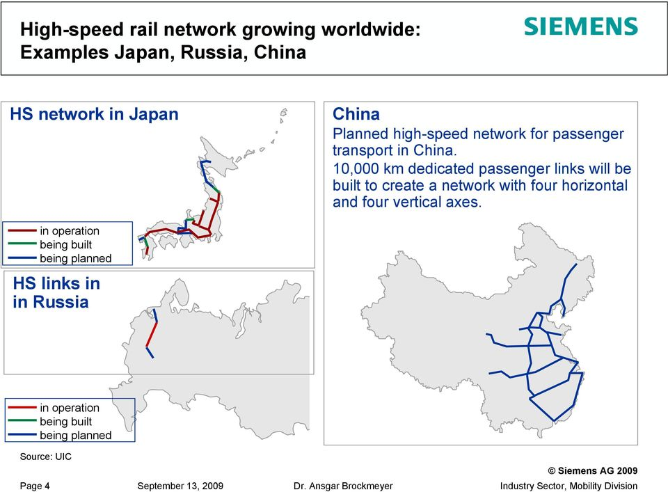 10,000 km dedicated passenger links will be built to create a network with four horizontal and four