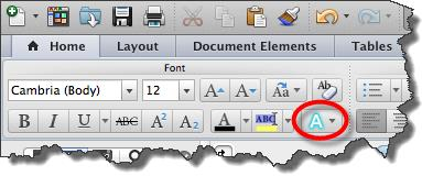 1. Highlight the content you wish to convert. WORD 2011 FOR MAC TEXT EFFECTS 2. Go to Home tab and select the Text Effects button.