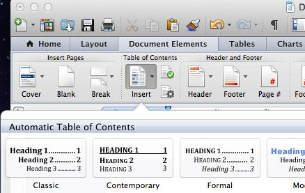 You can select one of the automatically generated formats or choose to enter the titles of the sections manually.
