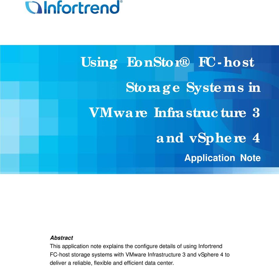 configure details of using Infortrend FC-host storage systems with VMware