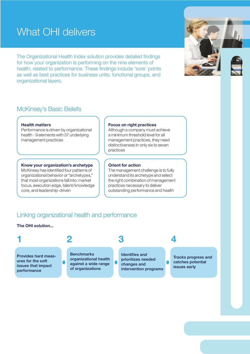 McKinsey s Basic Beliefs Health matters Performance is driven by organizational health - 9 elements with 37 underlying management practices Focus on right practices Although a company must achieve a