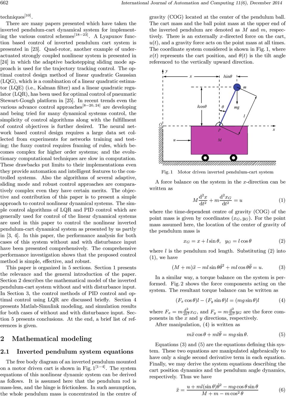 Optimal Control Of Nonlinear Inverted Pendulum System Using Pid Example 2 Mathematical Diagram A Lyapunov Function Based Cart Is Presented In 23