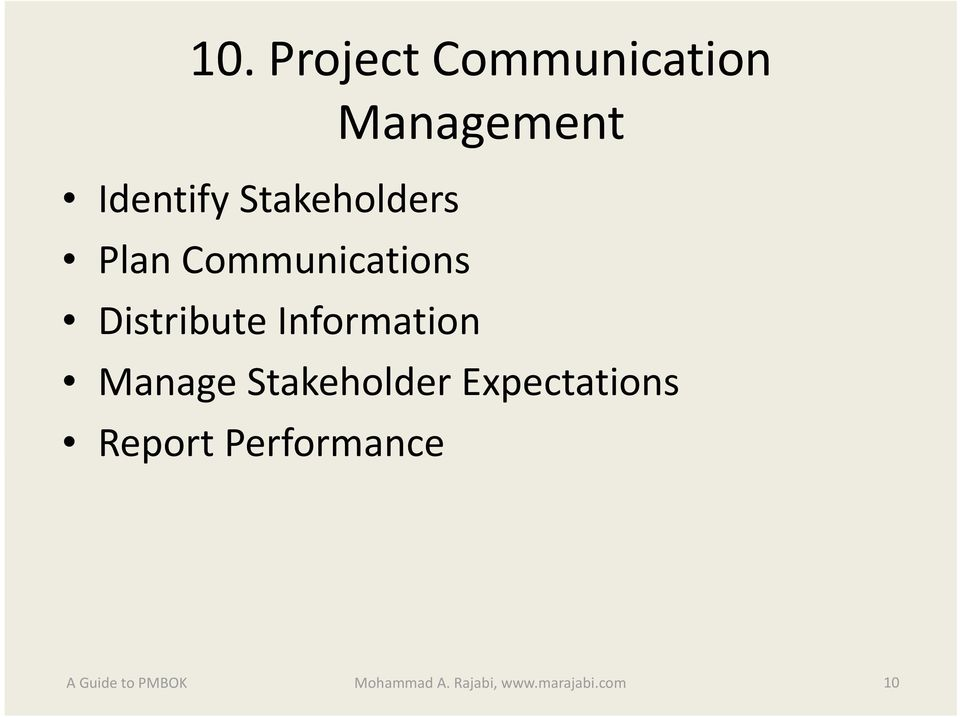 Information Manage Stakeholder Expectations