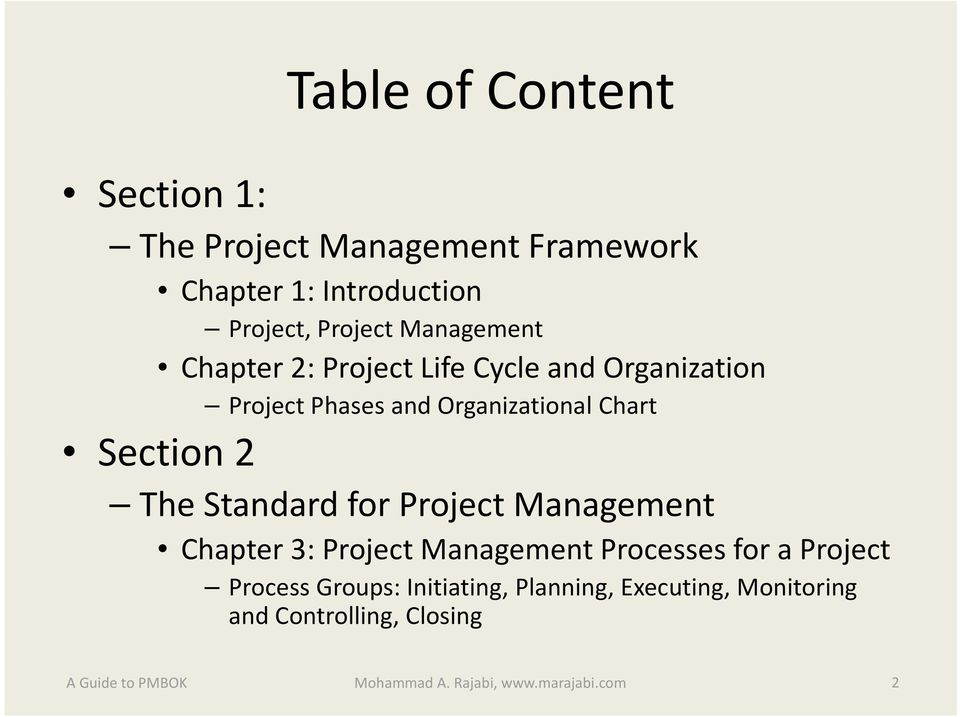 Chart The Standard for Project Management Chapter 3: Project Management Processes for a Project Process
