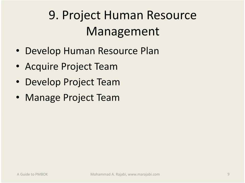 Project Team Develop Project Team Manage