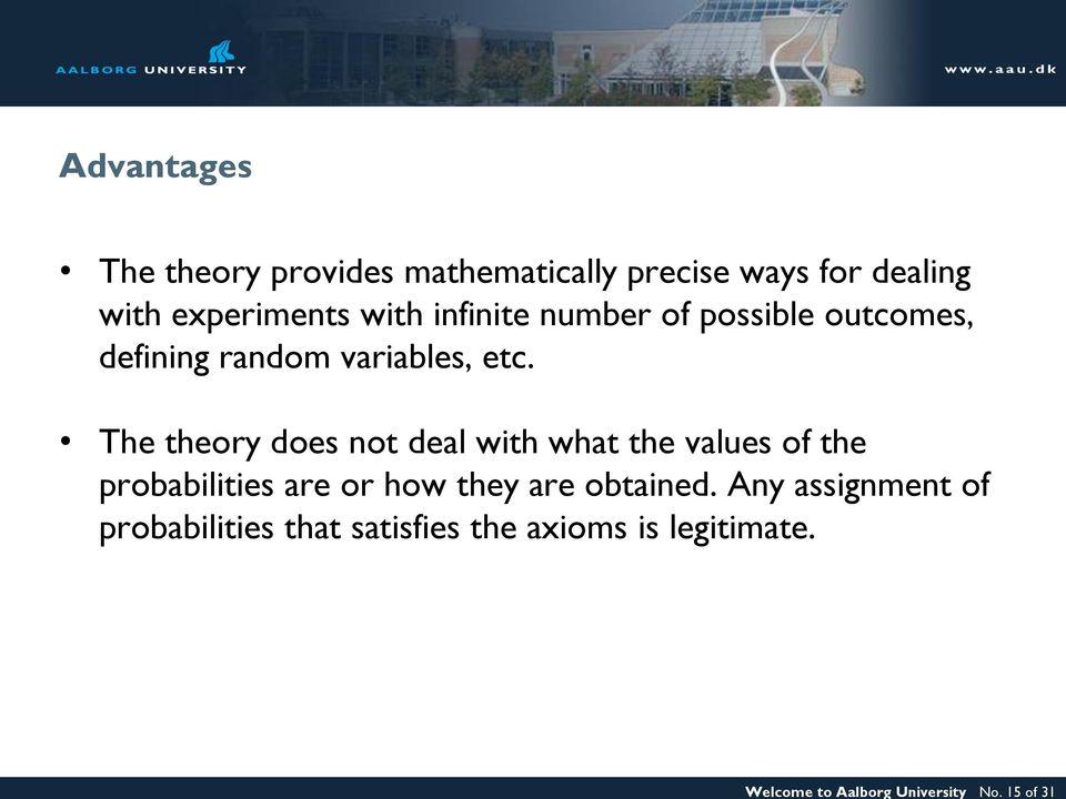 experiments with infinite number of possible outcomes, defining random variables, etc.