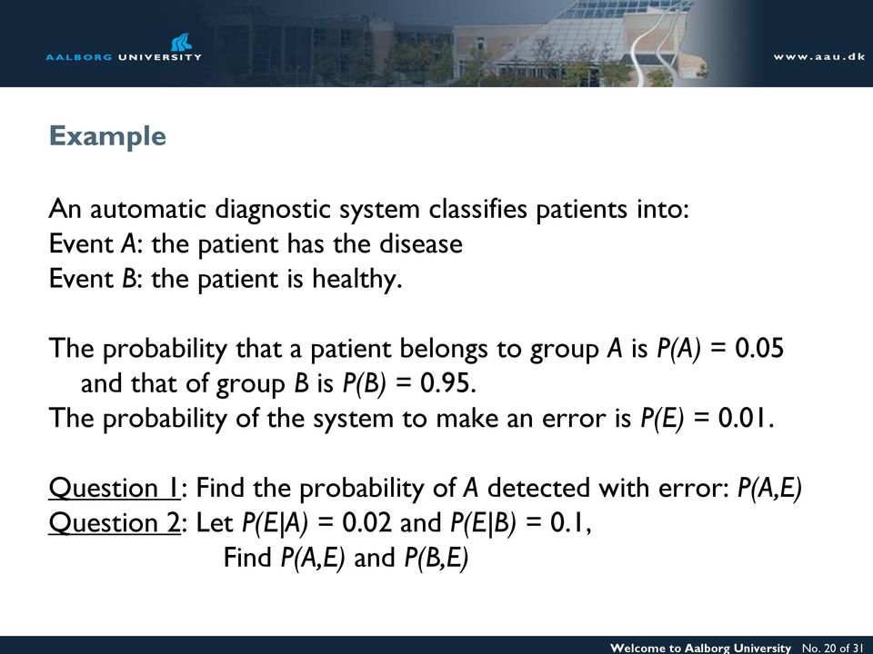 the patient is healthy. The probability that a patient belongs to group A is P(A) = 0.