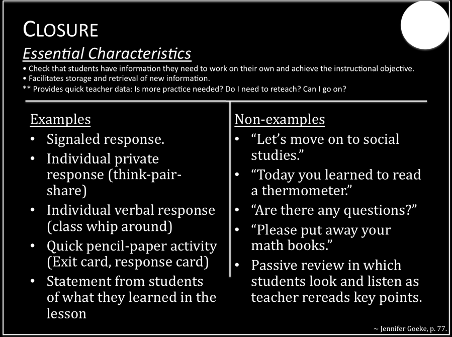 Closure/Assessment The assessment portion can be informal - using Fist-to-Five, 12 Word Summary, Brain Bark, Exit Cards, Idea Wave, Thumbs Up, Thumbs Down, etc.