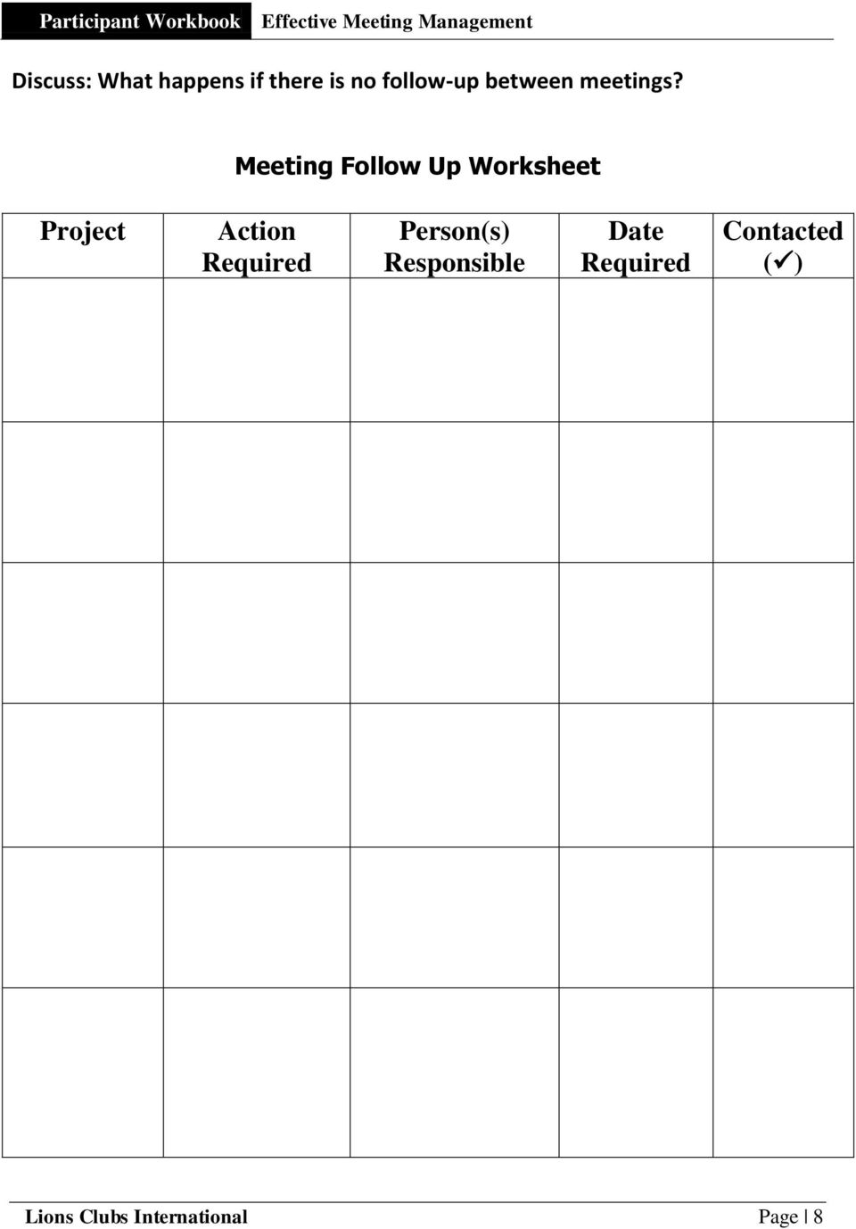 Meeting Follow Up Worksheet Project Action