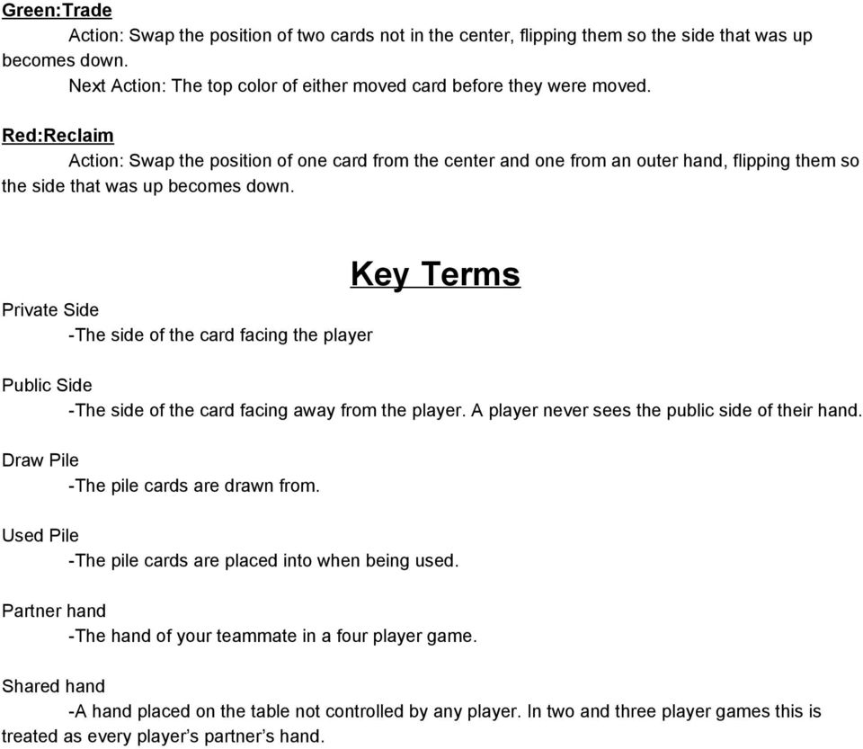 Private Side The side of the card facing the player Key Terms Public Side The side of the card facing away from the player. A player never sees the public side of their hand.
