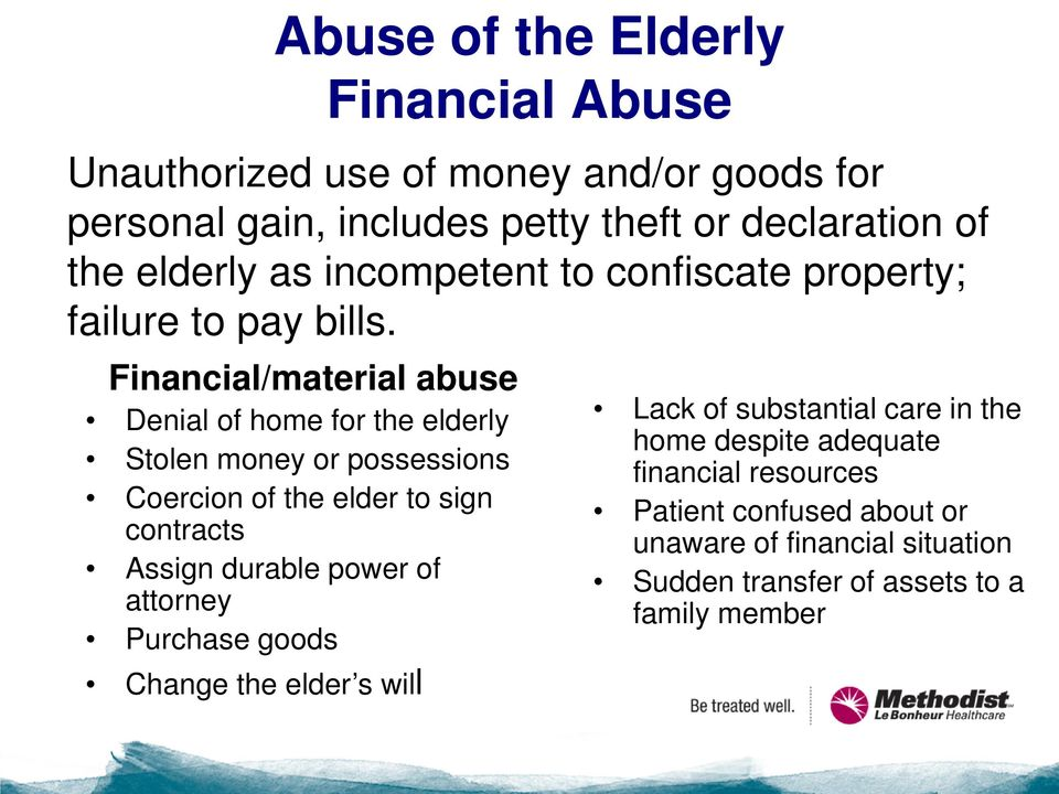 Financial/material abuse Denial of home for the elderly Stolen money or possessions Coercion of the elder to sign contracts Assign durable power
