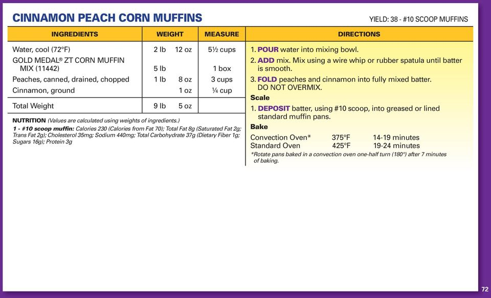 ) 1 - #10 scoop muffin: Calories 230 (Calories from Fat 70); Total Fat 8g (Saturated Fat 2g; Trans Fat 2g); Cholesterol 35mg; Sodium 440mg; Total Carbohydrate 37g (Dietary Fiber 1g; Sugars 16g);