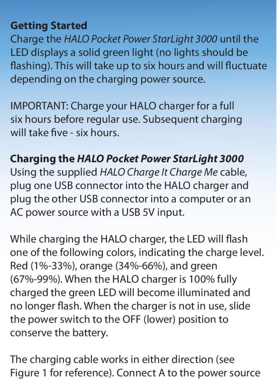 Subsequent charging will take five - six hours.