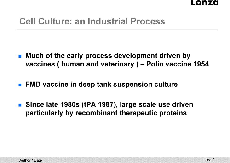 1954 FMD vaccine in deep tank suspension culture Since late 1980s (tpa