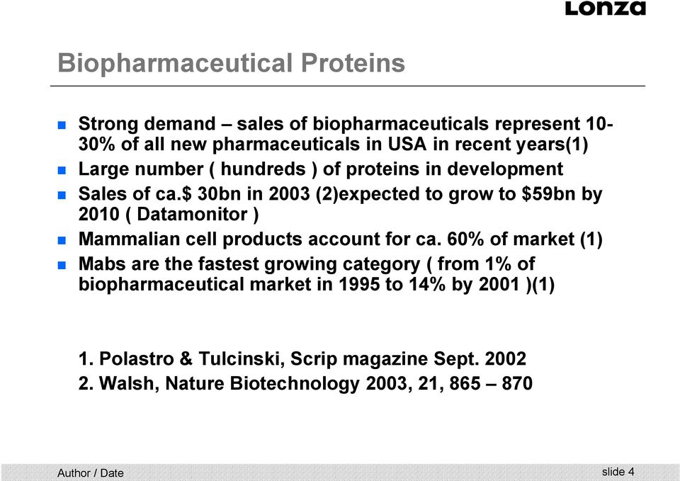 $ 30bn in 2003 (2)expected to grow to $59bn by 2010 ( Datamonitor ) Mammalian cell products account for ca.