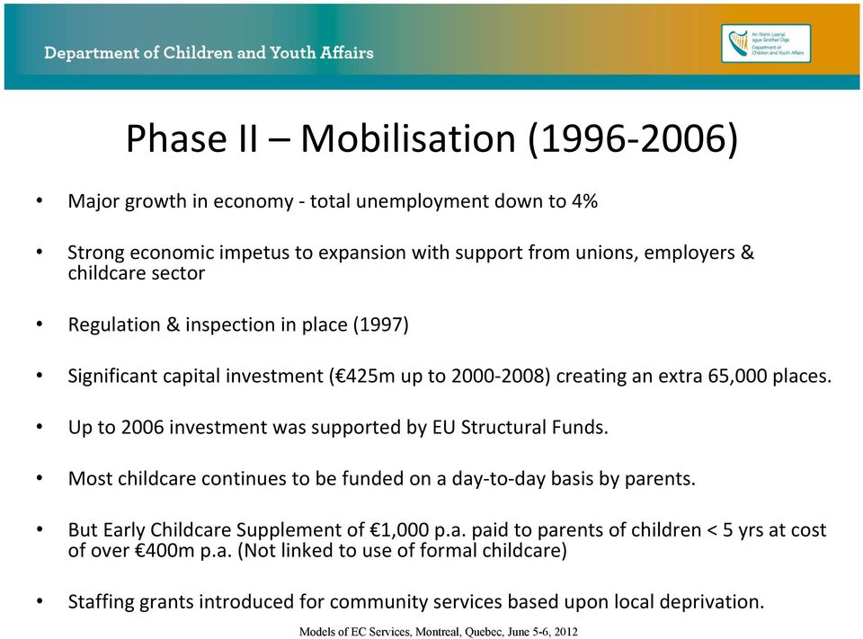 Up to 2006 investment was supported by EU Structural Funds. Most childcare continues to be funded on a day to day basis by parents.