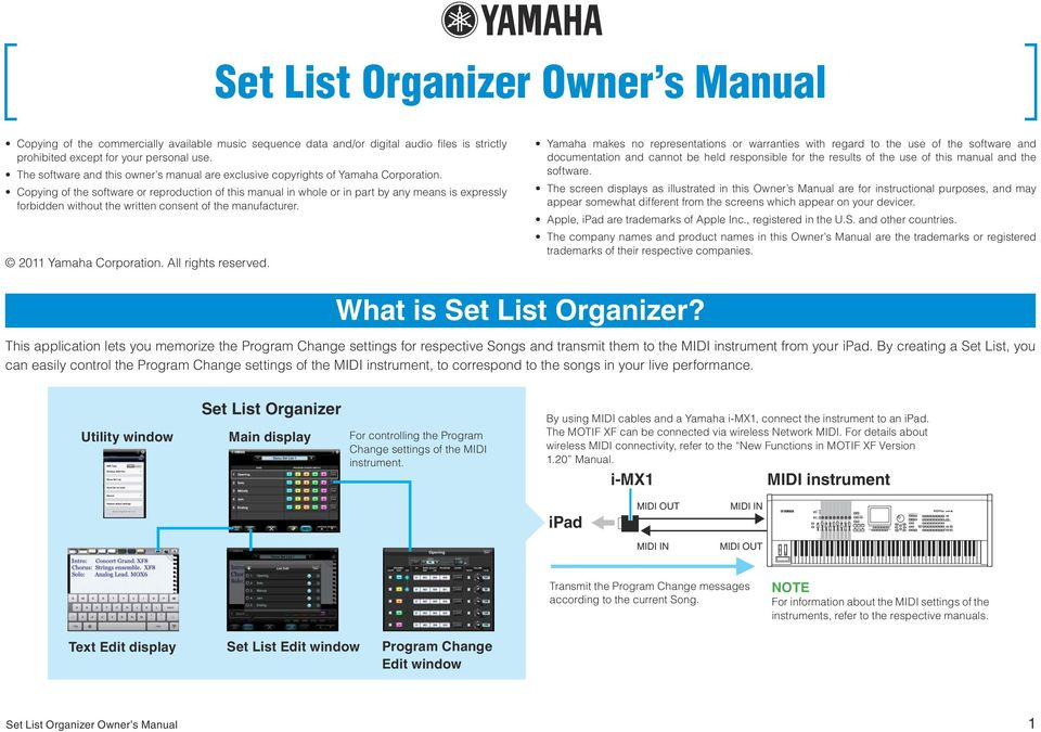 Copying of the software or reproduction of this manual in whole or in part by any means is expressly forbidden without the written consent of the manufacturer. 2011 Yamaha Corporation.
