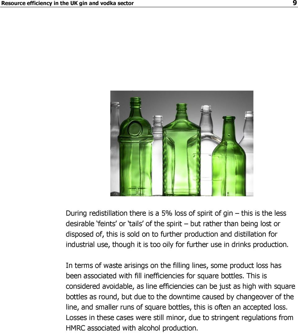 In terms of waste arisings on the filling lines, some product loss has been associated with fill inefficiencies for square bottles.