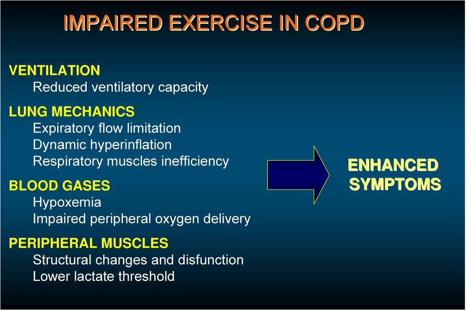 inefficiency BLOOD GASES Hypoxemia Impaired peripheral oxygen delivery