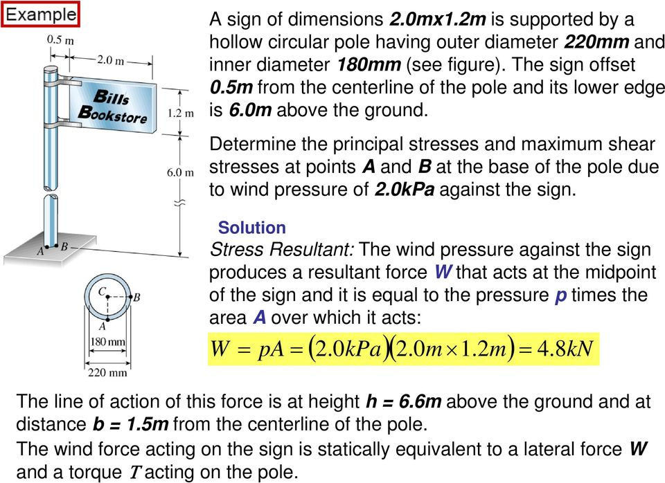 Determine the principal stresses and maimum shear stresses at points A and B at the base of the pole due to wind pressure of.0kpa against the sign.