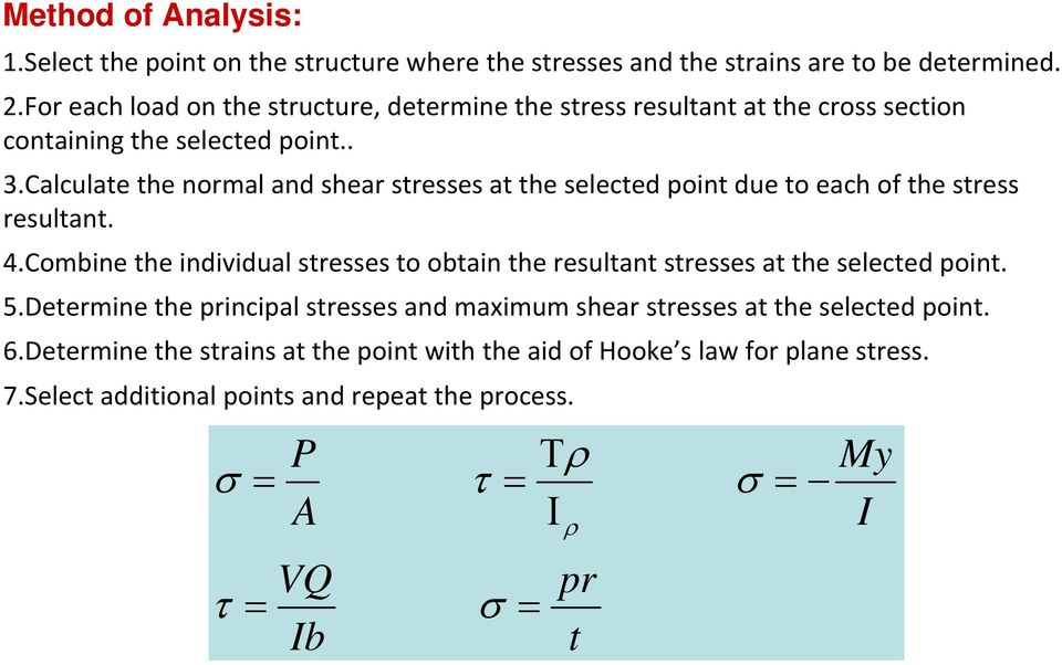 ..calculate the normal and shear stresses at the selected point due to each of the stress resultant. 4.