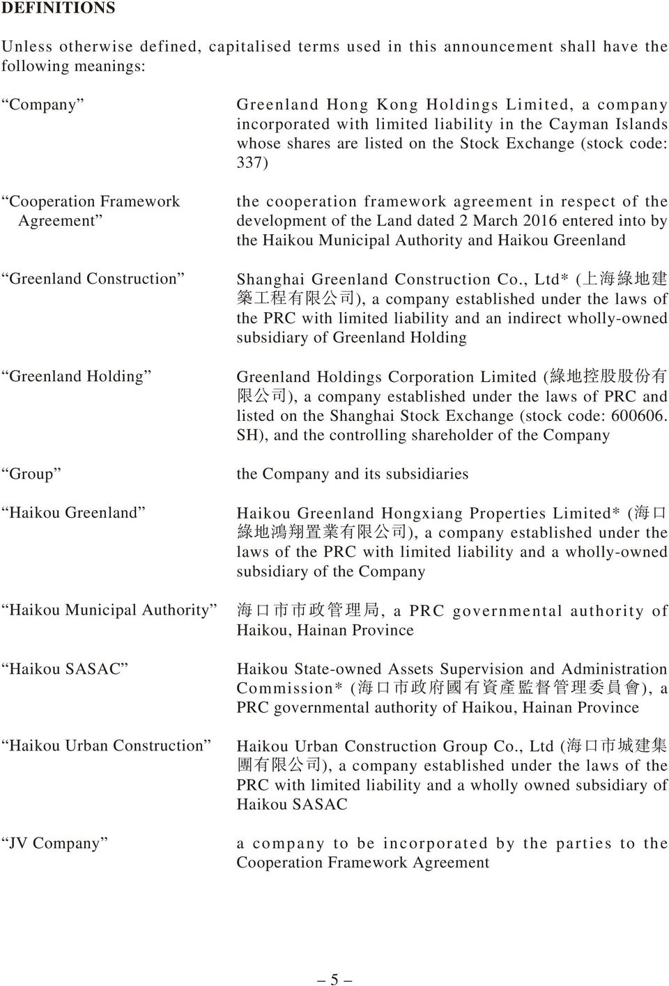 Islands whose shares are listed on the Stock Exchange (stock code: 337) the cooperation framework agreement in respect of the development of the Land dated 2 March 2016 entered into by the Haikou