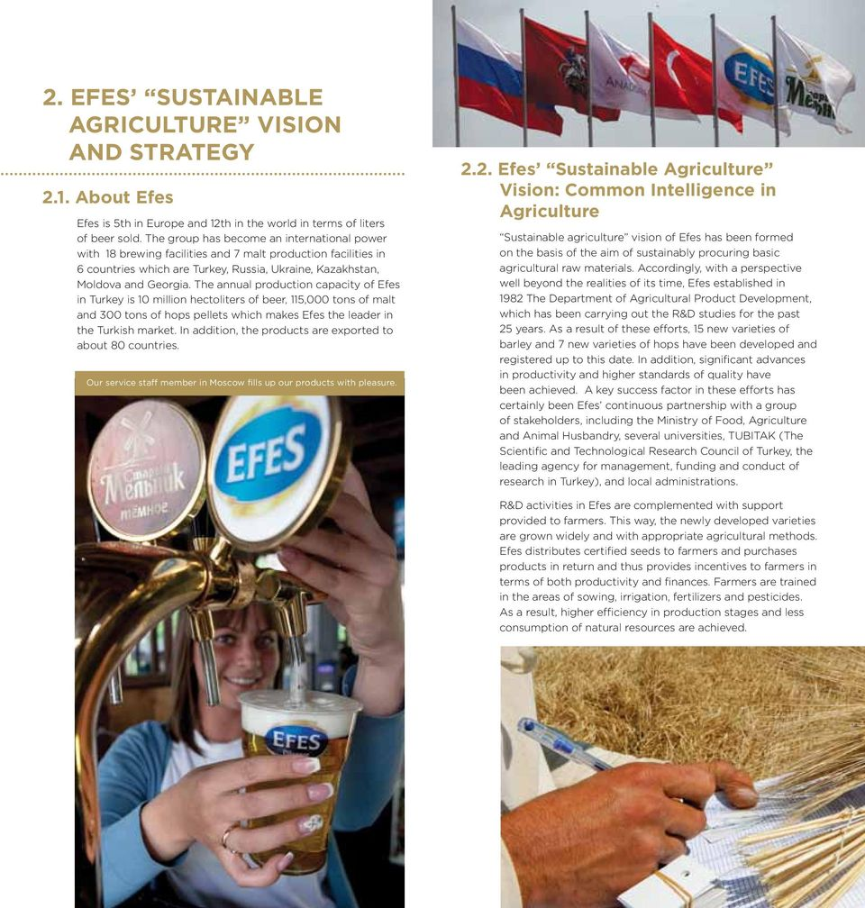 The annual production capacity of Efes in Turkey is 10 million hectoliters of beer, 115,000 tons of malt and 300 tons of hops pellets which makes Efes the leader in the Turkish market.