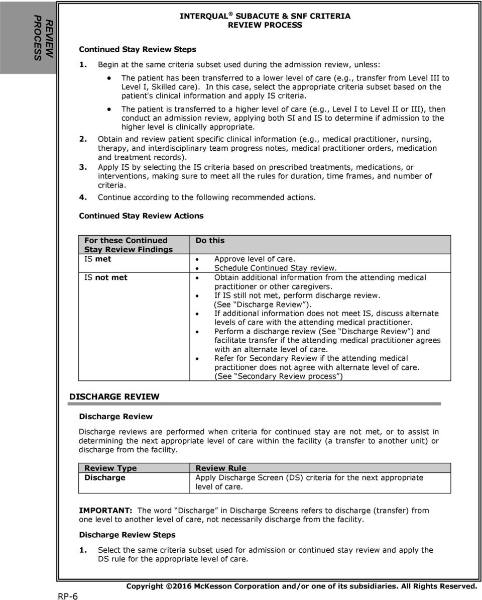 interqual subacute snf criteria review process pdf rh docplayer net
