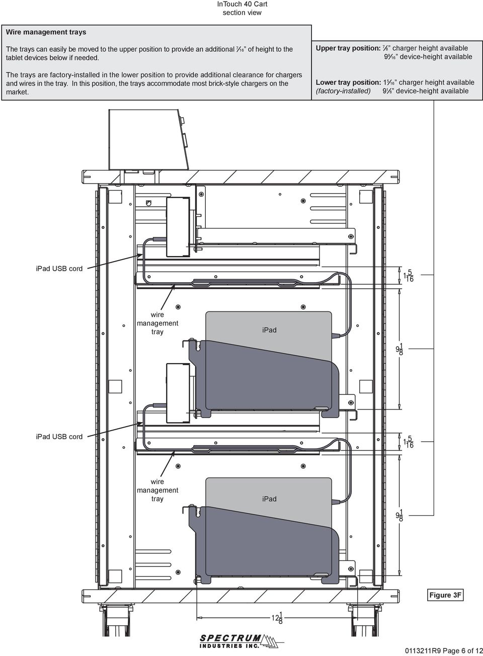 Owner S Manual Intouch 40 Cart With Sync Charge System For Ipads Usb Cable Wiring Diagram Together Of Ipad Cord Wire Management Tray Figure 3f R9 Page 6 12 In This Position The Trays Accommodate Most Brick Style Chargers On Market